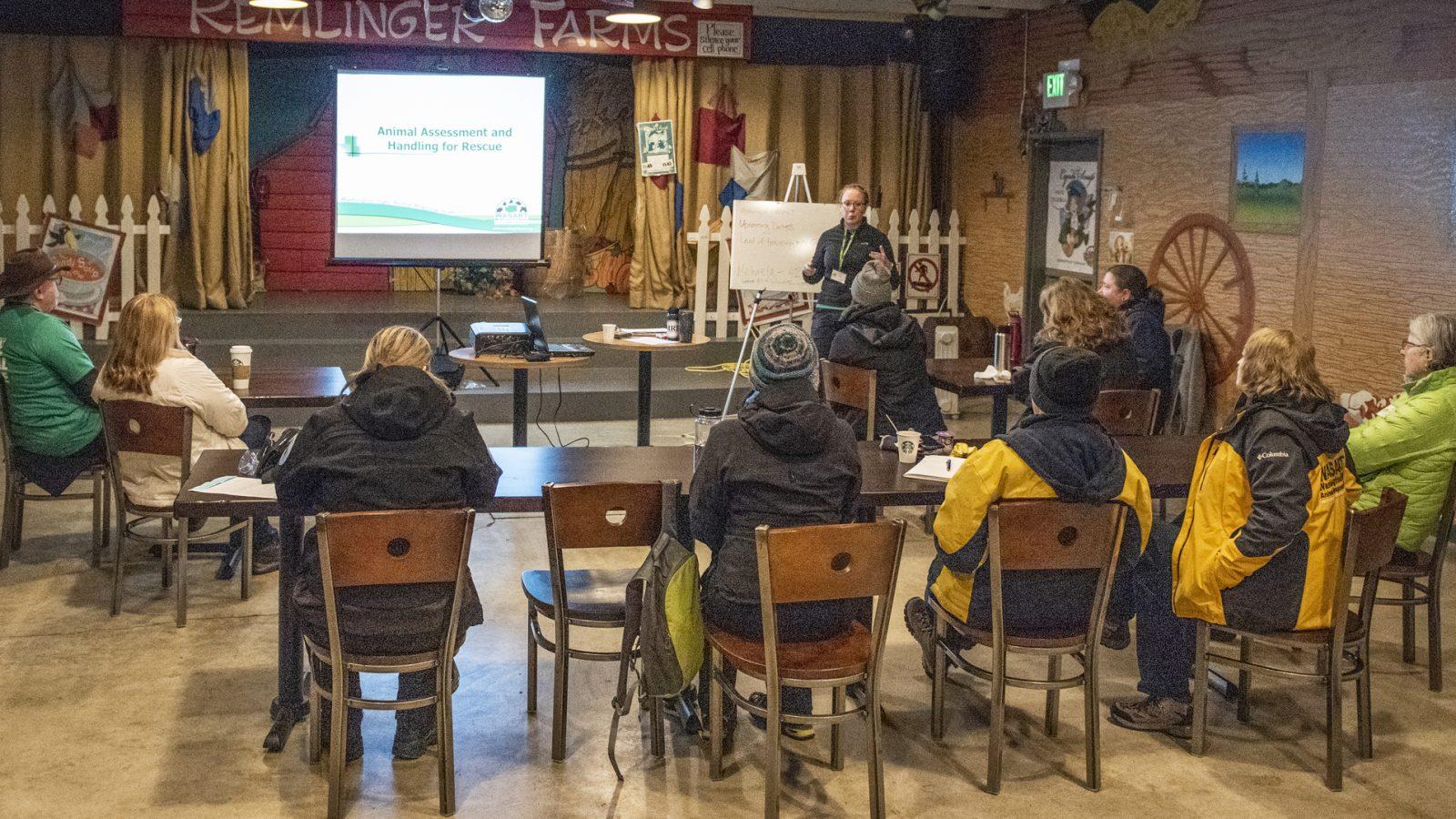 Classroom of WASART volunteers during training.